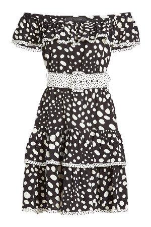 Printed Off-The-Shoulder Silk Dress Gr. US 2