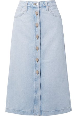 Goldsign | The Button Front denim midi skirt | NET-A-PORTER.COM