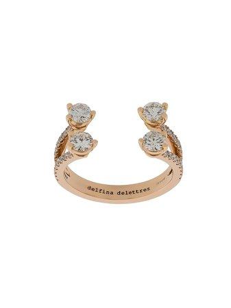 Delfina Delettrez 18Kt Rose Gold Dots Diamond Pave Ring Continuity   Farfetch.com