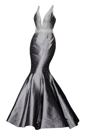 Dress long mermaid metallic grey