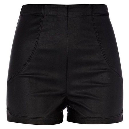 River Island Black Leather Look High Waisted Shorts