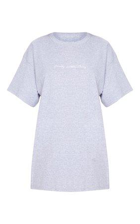Plt Slogan Grey Oversized T Shirt | Skirts | PrettyLittleThing USA