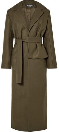 Aissa Belted Wool-blend Coat - Army green