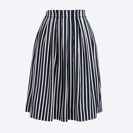 Striped pleated midi skirt