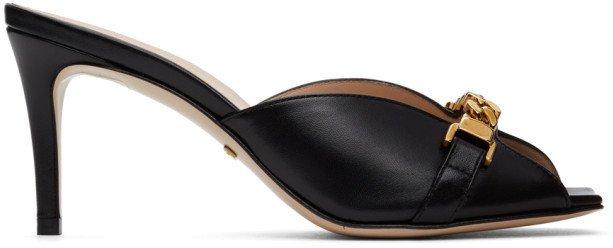 Black Sylvie Chain Heeled Sandals