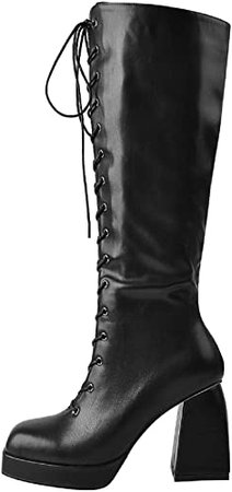 Amazon.com | Yolkomo Women's Knee High Over The High Lace Up Pull On Shaft Boots | Knee-High