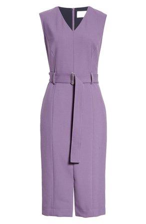 BOSS Dadorina Belted Sleeveless Virgin Wool Sheath Dress | Nordstrom