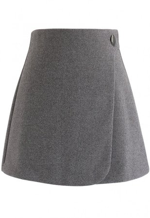 Button Decorated Flap Mini Skirt in Grey - Skirt - BOTTOMS - Retro, Indie and Unique Fashion