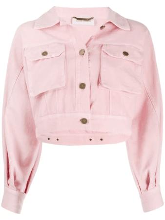 Alberta Ferretti Balloon Sleeve Cropped Denim Jacket In Pink | ModeSens