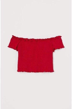 Smocked Off-the-shoulder Top - Red