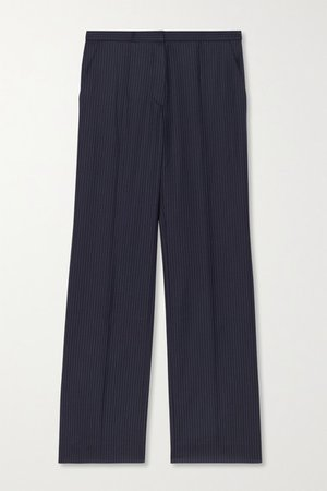 Cropped Pinstriped Wool Straight-leg Pants - Navy