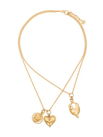 Givenchy Gold Metallic Trio Heart Necklaces - Farfetch