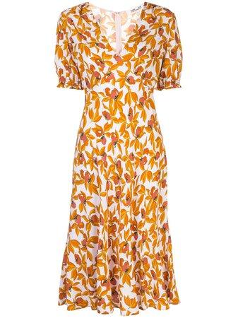 Shop orange DVF Diane von Furstenberg floral print dress with Express Delivery - Farfetch