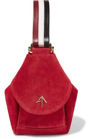 MANU Fernweh Micro Leather-trimmed Suede Wristlet Bag - Red