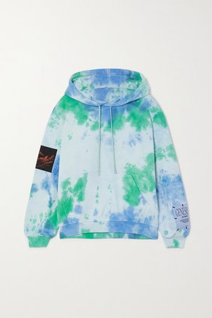 Unity Appliqued Tie-dyed Cotton-jersey Hoodie - Blue