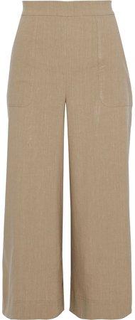 Cornelia Cropped Linen-blend Wide-leg Pants