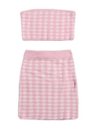 Shein Pink Houndstooth Bandeau & Skirt Set