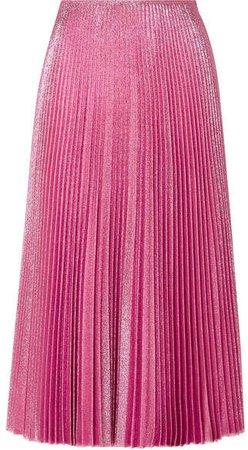 Pleated Lurex Midi Skirt - Pink