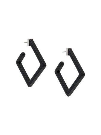 Karl Lagerfeld Large Square Hoop Earrings SI200040966 Black | Farfetch