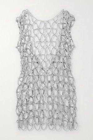 Silver-tone Crystal Mini Dress