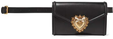 Devotion Embellished Leather Belt Bag - Black