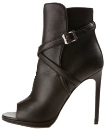 Leather Open Toe Buckle Boots