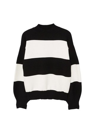 MANGO Puffed sleeves striped sweater