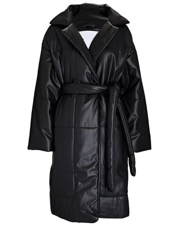 Quilted Vegan Leather Puffer Coat