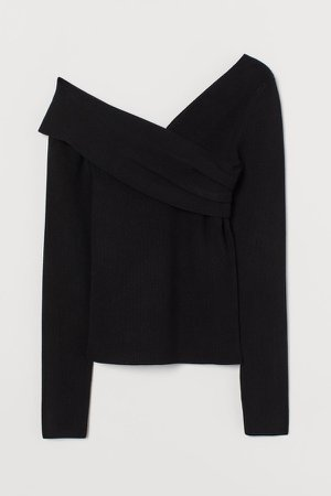 One-shoulder Top - Black