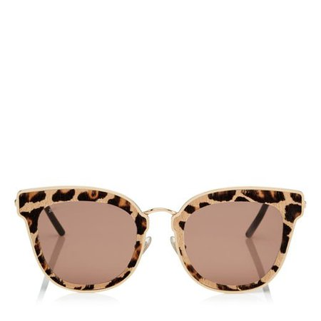 Rose Gold Metal Cat-Eye Sunglasses with Leopard Cavallino Leather Detailing   Nile   Cruise 18   JIMMY CHOO