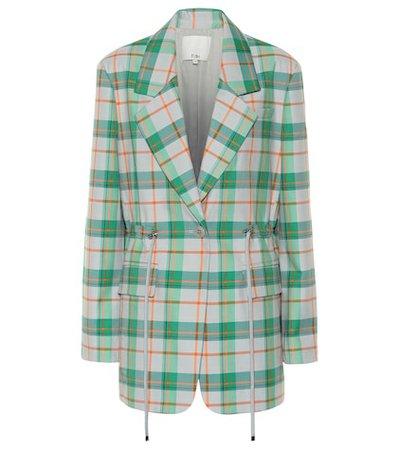 Plaid cotton-blend blazer