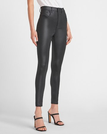 Super High Waisted Black Coated Skinny Jeans