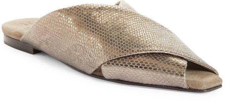 Metallic Snake Embossed Slide Sandal
