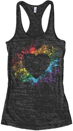Threadrock Women's Rainbow Heart Burnout Racerback Tank Top