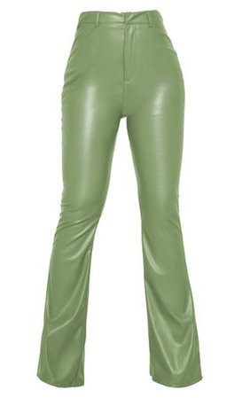 Khaki Pu Flared Trousers | Trousers | PrettyLittleThing
