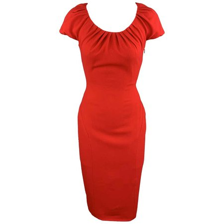 REEM ACRA Size 4 Red Silk Crepe Ruched Collar Lace Back Sheath Dress For Sale at 1stdibs