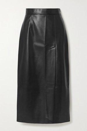 Faux Leather Midi Skirt - Black