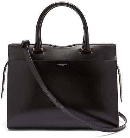 Uptown Leather Tote - Womens - Black