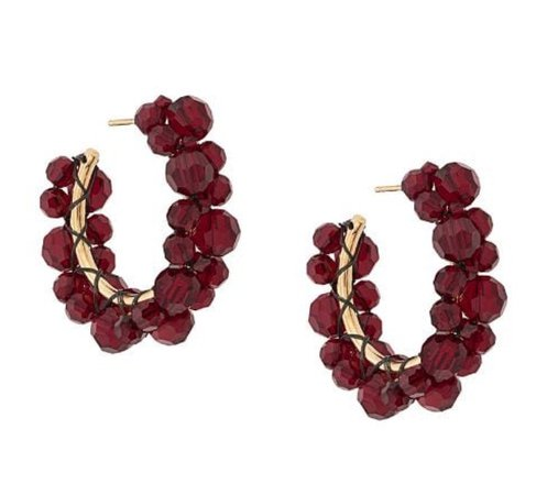 simone rocha crystal hoop earrings red bordeaux