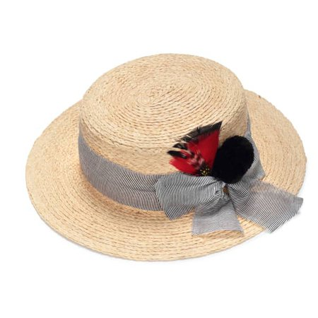 Straw Boater With A Feather | Justine Hats | Wolf & Badger