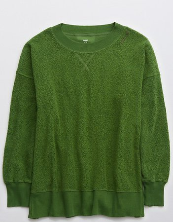 Aerie Cozy Good Vibes Oversized Sweatshirt green