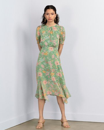 Floral-Print Asymmetrical-Hem Dress