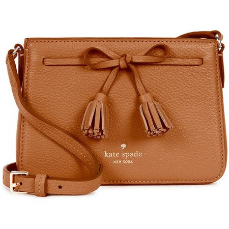 KATE SPADE NEW YORK Hayes Street Eniko leather cross-body bag (295 AUD) ❤ liked on Polyvore featuring… | Brown shoulder bag, Purses crossbody, Brown crossbody purse