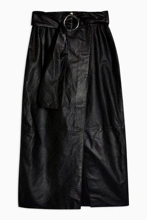 Black Leather Wrap Pencil Skirt | Topshop