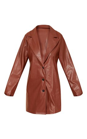 Chocolate Faux Leather Button Down Blazer Dress | PrettyLittleThing USA