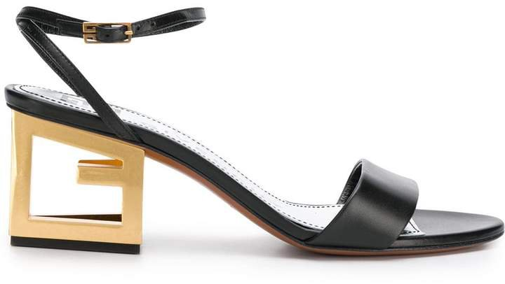 G heel leather sandals