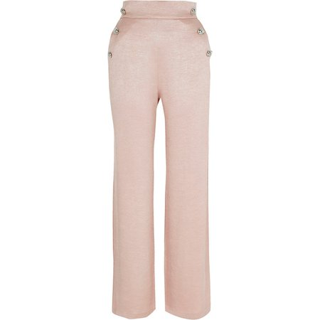 Pink pull on wide leg button detail trousers   River Island