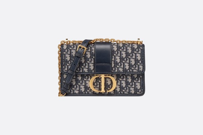 Bolso con solapa y cadena 30Montaigne de tela jacquard Dior Oblique azul - Bolsos - Moda Mujer | DIOR