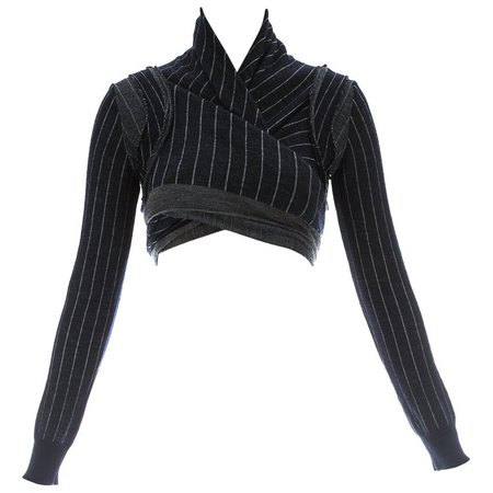 Comme des Garcons navy blue wool striped knitted wrap cardigan, ca. 1980s For Sale at 1stdibs