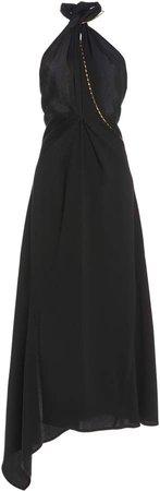 Victoria Beckham Halter Neck Crepe Midi Dress